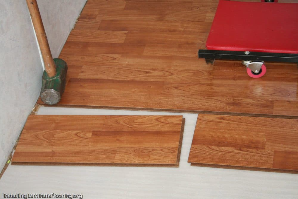 Laminate installation showing fitting end pieces